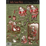 "Hot Off the Press 3-D Papier Tole Die Cuts Jolly St. Nick; Color: Multi; Size: 8 1/2"" x 11""; Type: Dimensional; (model HOTP8017), price per each"