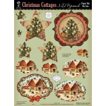 "Hot Off the Press 3-D Papier Tole Die Cuts Christmas Cottages; Color: Multi; Size: 8 1/2"" x 11""; Type: Dimensional; (model HOTP8020), price per pack"