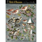 "Hot Off the Press 3-D Papier Tole Die Cuts Birds and Blossoms; Color: Multi; Size: 8 1/2"" x 11""; Type: Dimensional; (model HOTP8005), price per each"