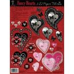 "Hot Off the Press 3-D Papier Tole Die Cuts Fancy Hearts: Multi, 8 1/2"" x 11"", Dimensional, (model HOTP8006), price per each"