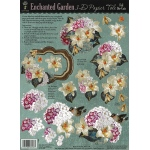 "Hot Off the Press 3-D Papier Tole Die Cuts Enchanted Garden; Color: Multi; Size: 8 1/2"" x 11""; Type: Dimensional; (model HOTP8008), price per each"