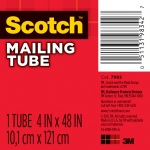 "Scotch® 4"" x 48"" Mailing Tube; Color: White/Ivory; Diameter: 4""; Length: 48""; Material: Fiberboard; Size: 4"" x 48""; (model 7982), price per each"