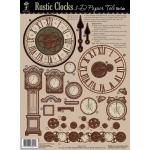 """Hot Off the Press 3-D Papier Tole Die Cuts Rustic Clocks: Multi, 8 1/2"""" x 11"""", Dimensional, (model HOTP8001), price per each"""
