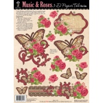"Hot Off the Press 3-D Papier Tole Die Cuts Music and Roses; Color: Multi; Size: 8 1/2"" x 11""; Type: Dimensional; (model HOTP8012), price per each"