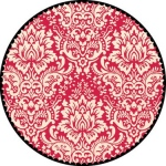 "Jenni Bowlin Studio Label Die Cut Paper: Red Circle Damask, 12"" x 12"""