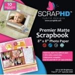 "ScrapHD Premier Matte Scrapbook Photo Paper: 8"" x 8"", Pack of 10"