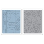 Sizzix Tim Holtz Texture Fades Embossing Folders Set: Blueprint and Gears