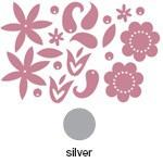 Heidi Swapp Chipboard Shapes Metallic Flowers: Silver