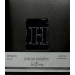 Heidi Swapp Iron Ons Newsprint Outline Uppercase Black Fuzzy