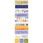 Little Yellow Bicycle  Zinnia Collection Fabric Rub-On Stickers: Words