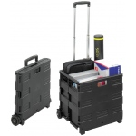 Safco® Collapsible Stowaway Crate; Capacity: 50 lb; Color: Black/Gray; Material: Plastic; Type: Storage Box; (model 4054BL), price per each