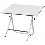 "Alvin® EZ Fold Table Black 30 x 42; Angle Adjustment Range: 0 - 70; Base Color: Black/Gray; Base Material: Steel; Height Range: 30 1/2"" - 44""; Top Color: White/Ivory; Top Size: 30"" x 42""; (model EZ42-3), price per each"