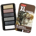 Derwent XL Charcoal Block: Warm, 6 Color Set
