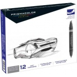 Prismacolor® Premier Chisel Marker Neutral Grey Set 12CT; Color: Black/Gray; Double-Ended: Yes; Ink Type: Alcohol-Based, Dye-Based; Tip Type: Extra Broad Nib, Fine Nib; (model SN1850655), price per set