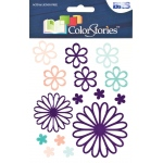 """Blue Hills Studio™ ColorStories™ Glossy Embossed Daisy Stickers Purple; Color: Purple; Material: Gel; Size: 4 3/4"""" x 5 3/4""""; Type: Dimensional; (model BHS10511), price per each"""