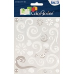 """Blue Hills Studio™ ColorStories™ Epoxy Swirl Stickers White; Color: White/Ivory; Material: Epoxy; Size: 4 3/4"""" x 5 3/4""""; Type: Dimensional; (model BHS10707-2), price per each"""
