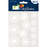 """Blue Hills Studio™ ColorStories™ Gel Outline Daisy Stickers White; Color: White/Ivory; Material: Gel; Size: 4 3/4"""" x 5 3/4""""; Type: Dimensional; (model BHS10708), price per each"""
