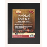 "Heritage Arts™ Archival Series 11"" x 14"" Pre-Cut Single Layer Black Mat Kit; Color: Black/Gray; Format: Frame; Material: Pre-Cut Mat Board; Size: 11"" x 14""; Thickness: 1/16""; Type: Presentation Board; (model H1114ASB), price per each"