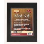 "Heritage Arts™ Standard Series 11"" x 14"" Pre-Cut Double Layer Black Mat Kit: Black/Gray, Frame, Pre-Cut Mat Board, 11"" x 14"", 1/8"", Presentation Board, (model H1114SDB), price per each"