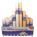 """Alvin® Lightweight Tracing Paper Roll Display: White/Ivory, Yellow, Roll, 58 Rolls, 12"""" x 50 yd, 14"""" x 50 yd, 18"""" x 50 yd, 24"""" x 50 yd, Smooth, Tracing, (model 55-DISP), price per each"""