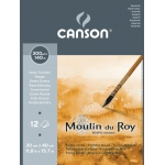 "Canson® Moulin du Roy 9 2/5"" x 12 3/5"" Watercolor Rough Pad; Color: White/Ivory; Format: Pad, Sheet; Quantity: 12 Sheets; Size: 9 2/5"" x 12 3/5""; Texture: Rough; Type: Watercolor; Weight: 140 lb; (model C400028909), price per 12 Sheets pad"