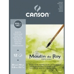 "Canson® Moulin du Roy 11 4/5"" x 15 7/10"" Watercolor Cold Press Pad; Color: White/Ivory; Format: Pad, Sheet; Quantity: 12 Sheets; Size: 11.8"" x 15.7""; Texture: Cold Press; Type: Watercolor; Weight: 140 lb; (model C400028951), price per 12 Sheets pad"