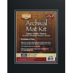"Heritage Arts™ Archival Series 11"" x 14"" Pre-Cut Double Layer Black Mat Kit: Black/Gray, Frame, Pre-Cut Mat Board, 11"" x 14"", 1/8"", Presentation Board, (model H1114ADB), price per each"