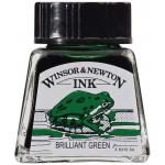 Winsor & Newton™ Drawing Ink 14ml Brilliant Green: Green, Bottle, 14 ml, Drawing Ink, (model 1005046), price per each