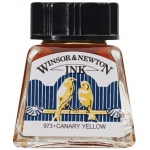 Winsor & Newton™ Drawing Ink 14ml Canary Yellow: Yellow, Bottle, 14 ml, Drawing Ink, (model 1005123), price per each