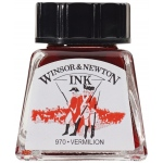 Winsor & Newton™ Drawing Ink 14ml Vermillion; Color: Green; Format: Bottle; Size: 14 ml; Type: Drawing Ink; (model 1005680), price per each