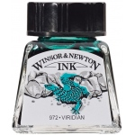 Winsor & Newton™ Drawing Ink 14ml Viridian; Color: Green; Format: Bottle; Size: 14 ml; Type: Drawing Ink; (model 1005692), price per each