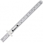 "Alvin® 6"" Stainless Steel Metric Pocket Rule: Metallic, Steel, 6"", General Purpose, (model 1533), price per each"