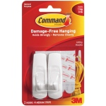 Command™ White Medium Utility Hooks; Color: White/Ivory; Material: Plastic; Type: Hooks; (model 17001), price per pack