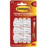 Command™ White Mini Utility Hooks; Color: White/Ivory; Material: Plastic; Type: Hooks; (model 17006), price per pack