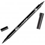 Tombow® Dual Brush® ABT Pen Black: Black/Gray, Double-Ended, Dye-Based, Brush Nib, Fine Nib, Brush Pen, (model 56621), price per each