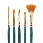 Winsor & Newton™ Regency Gold Series 500 Bright Short Handle Brush #4: Short Handle, Taklon, Bright, Acrylic, Oil, (model 5750004), price per each