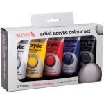 Reeves™ Acrylic 5-Color Set; Color: Multi; Format: Tube; Size: 75 ml; Type: Acrylic; (model 8340901), price per set