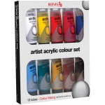 Reeves™ Acrylic 10-Color Set: Multi, Tube, 75 ml, Acrylic, (model 8340905), price per set