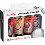 Reeves™ Acrylic 4-Color Metallic Set: Metallic, Multi, Tube, 75 ml, Acrylic, (model 8390904), price per set
