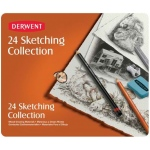 Derwent Sketching 24-Piece Tin Set; Color: Multi; Format: Block, Pencil; Type: Drawing, Pastel, Watercolor; (model 34306), price per set