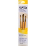 Princeton™ RealValue™ Watercolor Acrylic and Tempera Camel Brush Set; Length: Short Handle; Material: Natural; Shape: Round, Shader; Type: Acrylic, Tempera, Watercolor; (model 9101), price per set