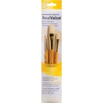 Princeton™ RealValue™ Watercolor Oil Acrylic and Tempera Bristle Brush Set; Length: Short Handle; Material: Bristle; Shape: Flat, Round; Type: Acrylic, Oil, Tempera, Watercolor; (model 9103), price per set