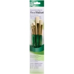 Princeton™ RealValue™ Oil Acrylic and Stain Bristle Brush Set: Short Handle, Bristle, Bright, Flat, Acrylic, Oil, Stain, (model 9112), price per set