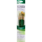 Princeton™ RealValue™ Watercolor Acrylic and Tempera Golden Taklon Brush Set: Short Handle, Taklon, Round, Shader, Acrylic, Oil, Stain, (model 9116), price per set