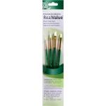 Princeton™ RealValue™ Watercolor Acrylic and Tempera White Taklon Brush Set: Short Handle, Taklon, Angular Shader, Round, Shader, Acrylic, Tempera, Watercolor, (model 9117), price per set