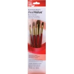 Princeton™ RealValue™ Watercolor Acrylic and Tempera Camel Brush Set; Length: Short Handle; Material: Natural; Shape: Round, Wash; Type: Acrylic, Tempera, Watercolor; (model 9121), price per set