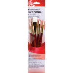 Princeton™ RealValue™ Watercolor Acrylic and Tempera White Taklon Brush Set: Short Handle, Taklon, Round, Shader, Wash, Acrylic, Tempera, Watercolor, (model 9125), price per set