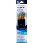 Princeton™ RealValue™ Watercolor Acrylic and Tempera Golden Taklon Brush Set; Material: Taklon; Shape: Filbert, Round, Script, Wash; Type: Acrylic, Tempera, Watercolor; (model 9132), price per set