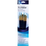 Princeton™ RealValue™ Watercolor Acrylic and Tempera White Taklon Brush Set; Length: Short Handle; Material: Taklon; Shape: Angular Shader, Round, Shader; Type: Acrylic, Tempera, Watercolor; (model 9136), price per set