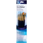 Princeton™ RealValue™ Watercolor Acrylic and Tempera Golden Taklon Brush Set; Length: Short Handle; Material: Taklon; Shape: Angular, Round; Type: Acrylic, Tempera, Watercolor; (model 9139), price per set